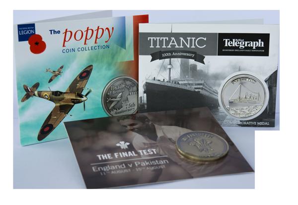 Titanic Commemorative Coin Poppy Commemorative Coin . Cricket Commemorative Coin