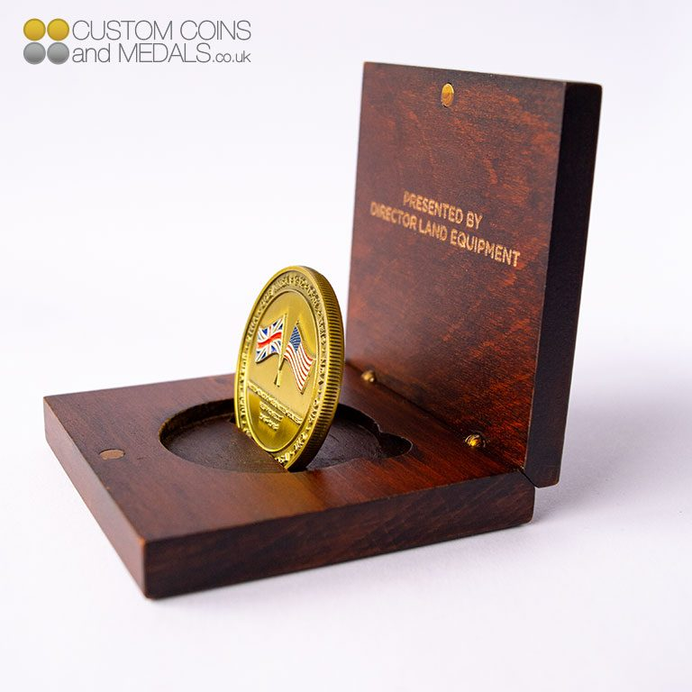 Standing Coin in wooden Coin Box